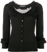 Dolce & Gabbana frill trimmed cardigan - women - Silk/Cotton/Polyamide - 46