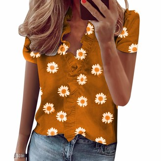 MoneRffi Women Summer Shirts Ruffled Short Sleeve Slim Fit Print Casual Loose Vest Blouses Tops