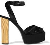 Giuseppe Zanotti Metal-trimmed Velvet Platform Sandals - Black