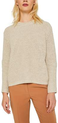 Esprit Womens Long Sleeved Rib Structured Round Neck Sweater - Cream