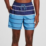 Merona Men's Stripe Swim Trunks Blue