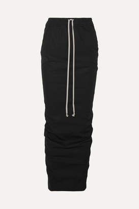 Rick Owens Ruched Cotton-jersey Maxi Skirt - Black