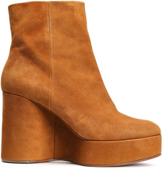 Clergerie Suede Platform Wedge Ankle Boots