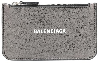 Balenciaga Logo metallic leather card holder