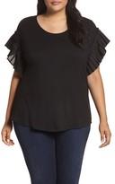 Sejour Plus Size Women's Pleat Ruffle Sleeve Top