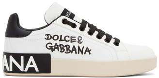 Dolce & Gabbana White and Black Logo Portofino Sneakers