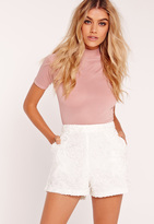 Missguided Premium Lace High Waisted Shorts White
