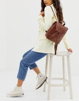 Asos Design DESIGN croc backpack-Tan