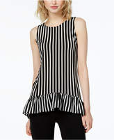 Bar III Striped Ruffled Tunic, Created for Macy's