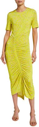 Akris Punto Magnolia Print Ruched Bodycon Dress