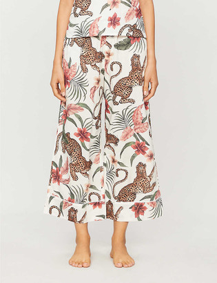 Desmond & Dempsey Soleia jungle-print wide-leg cotton pyjama bottoms