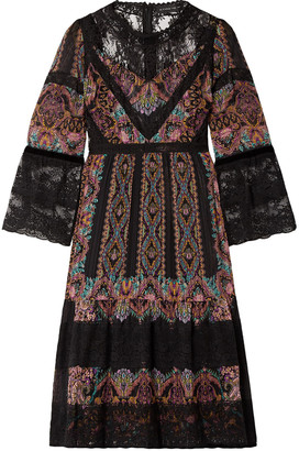 Etro Lace-paneled Printed Silk-crepon Dress