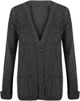 Crazy Girls Women's Cable Knitted Grandad Button Cardigan