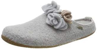 Living Kitzbühel Women's Pantoffel Rose mit Fußbett Open Back Slippers, Grey (Hellgrau 0620)