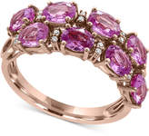 Effy Pink Sapphire (3-7/8 ct. t.w.) and Diamond Accent Ring in 14k Rose Gold, Created for Macy's