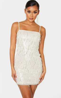 PrettyLittleThing Nude Strappy Tassel Sequin Stripe Bodycon Dress