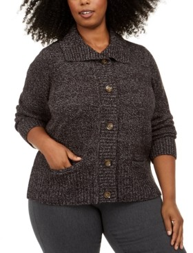Karen Scott Plus Size Marled Wing-Collar Cardigan, Created for Macy's