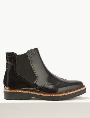 Marks and Spencer Wide Fit Leather Chelsea Brogue Boots