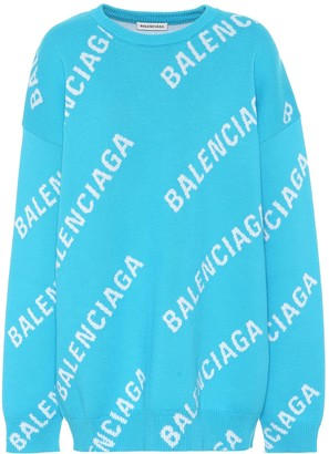 Balenciaga Logo-jacquard cotton-blend sweater