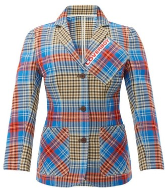 Charles Jeffrey Loverboy Loverboy Single-breasted Tartan-wool Jacket - Womens - Beige Multi