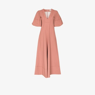 Lee Mathews Queenie pouf sleeve linen dress