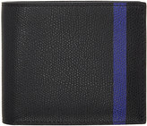 Valextra Black and Blue Stripe 6cc Bifold Wallet