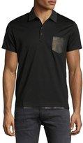 Diesel Leather-Trim Polo Shirt, Black