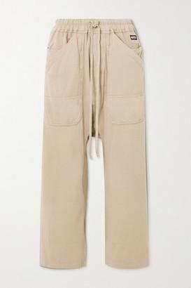 Rick Owens Appliqued Cotton-jersey Track Pants - Cream