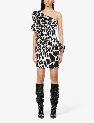 Alexandre Vauthier Animal-print asymmetric woven mini dress
