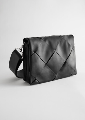 And other stories Leather Diamond Braided Crossbody Bag