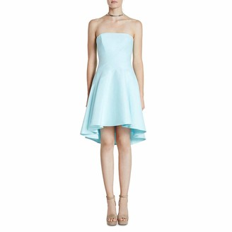 Halston Women's Strapless Structured Dress with Seams and Hi-Lo Skirt