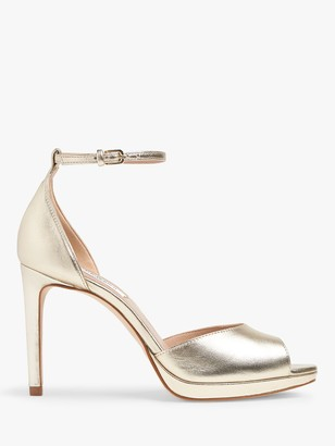 LK Bennett Joyce Leather Peep Toe Sandals, Soft Gold