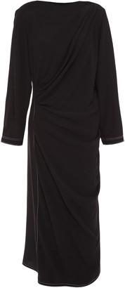 Marni Draped Crepe Midi Dress