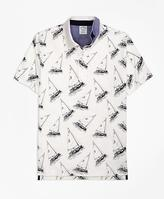 Brooks Brothers Slim Fit Paul Brown Boat Print Polo Shirt