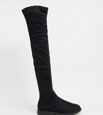 ASOS DESIGN Petite Kennedy flat over the knee boots in black