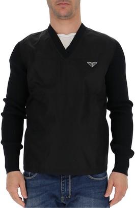 Prada Ribbed V-Neck Sweater