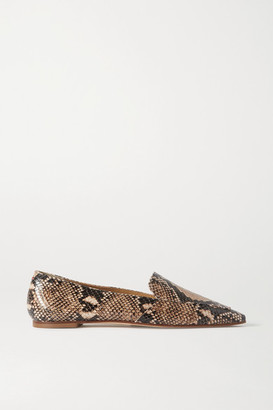 AEYDĒ Aurora Snake-effect Leather Loafers
