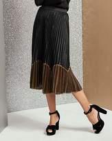 Fashion World Sunray Pleat Colour Block Midi Skirt