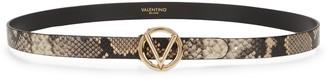 Mario Valentino Baby Python-Embossed Leather Belt