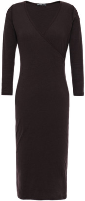 James Perse Wrap-effect Brushed Cotton-blend Jersey Midi Dress