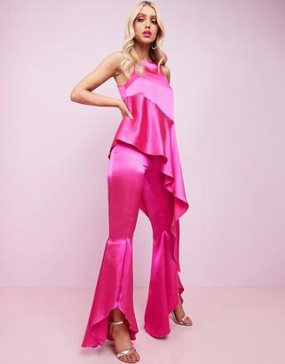 Asos DESIGN Luxe premium satin high neck waterfall flare leg jumpsuit