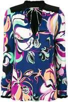 Emilio Pucci printed tie-neck blouse