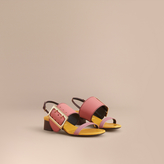 Burberry Colour Block Leather Sandals with Buckle Detail
