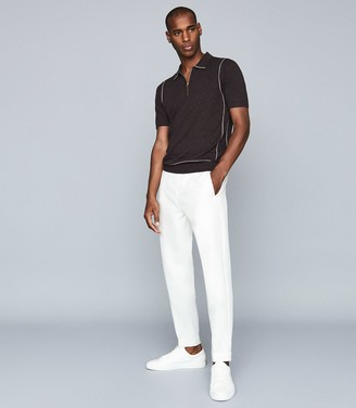 Reiss ROLLER TIPPED ZIP NECK POLO SHIRT Chocolate