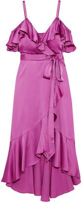 Temperley London Carnation Cold-shoulder Ruffled Satin-crepe Midi Dress