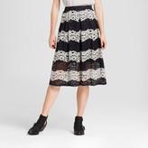Who What Wear Women's Lace Midi Skirt Black Stripe