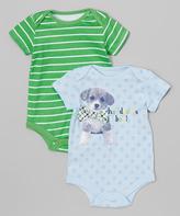 Baby Starters Blue 'Handsome Boy' Dog & Green Stripe Bodysuit Set - Infant