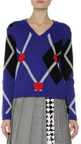 MSGM Argyle Long-Sleeve V-Neck Sweater, Navy