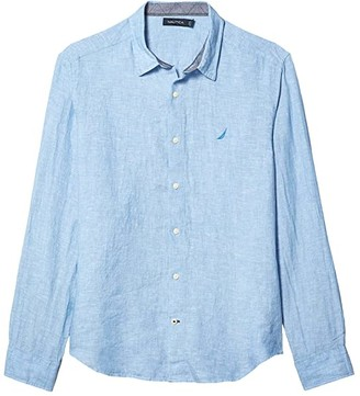 Nautica Long Sleeve Faded Linen Shirt (Blue) Men's Clothing