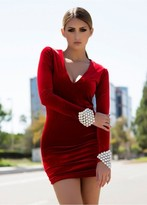 Savee Couture Dawn Breaker In Red Velvet Dr3017vtrs